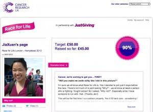 Screenshot of Race For Life Sponsor Me page